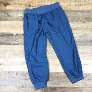 LOVE TREE | Blue Linen Joggers Pants Medium Boho